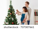 pregnancy  winter holidays and... | Shutterstock . vector #737307661