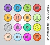 set of glassy icon for web and... | Shutterstock .eps vector #737308489