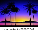 silhouette of palm trees on the ... | Shutterstock .eps vector #737309641