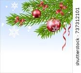christmas ball and fir tree | Shutterstock .eps vector #737312101