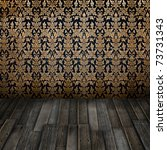Vintage interior with Thai floral art pattern wallpaper - stock photo