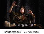 young woman with divination... | Shutterstock . vector #737314051