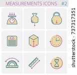 dimensions and measurements... | Shutterstock .eps vector #737317351