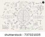plan brain sketch  text various ... | Shutterstock .eps vector #737321035