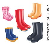 Colored Rubber Boots Vector...