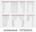 vector white window curtains... | Shutterstock .eps vector #737322241