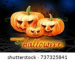angry pumpkins halloween... | Shutterstock . vector #737325841