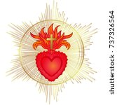 sacred heart of jesus with rays.... | Shutterstock .eps vector #737326564