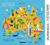 australia cartoon travel map... | Shutterstock .eps vector #737327899