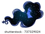 the profile of a girl with he... | Shutterstock .eps vector #737329024