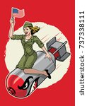 usa pin up  girl ride a nuclear ... | Shutterstock .eps vector #737338111