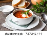 red soup with sour cream and...   Shutterstock . vector #737341444