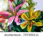 watercolor art background... | Shutterstock . vector #737350111
