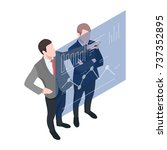 isometric two businessmen... | Shutterstock .eps vector #737352895
