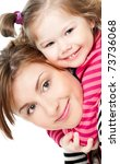 mummy and her kid on a white | Shutterstock . vector #73736068