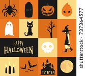 halloween theme background... | Shutterstock .eps vector #737364577