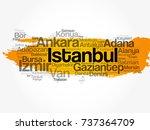 list of cities in turkey word... | Shutterstock .eps vector #737364709