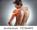 man suffering from a shoulder...   Shutterstock . vector #737364895
