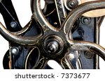 close-up view of an antique black letterpress showing the rare gold detailing - stock photo