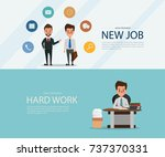 new job search and stress work... | Shutterstock .eps vector #737370331