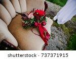 wedding bouquet lying on the... | Shutterstock . vector #737371915