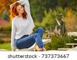 autumn woman in house garden....   Shutterstock . vector #737373667