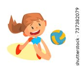 cheerful teen girl volleyball... | Shutterstock .eps vector #737382079