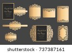set of laser cut template.... | Shutterstock .eps vector #737387161