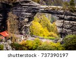 Small photo of The Prebischtor is a narrow rock formation located in the Bohemian Switzerland in the Czech Republic