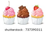 hand drawn vanilla cupcakes... | Shutterstock .eps vector #737390311