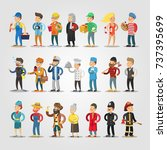 cartoon people professions set... | Shutterstock .eps vector #737395699