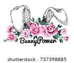 bunny ears and floral princess... | Shutterstock .eps vector #737398885