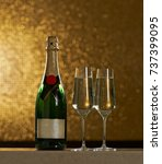 a bottle of champagne with two...   Shutterstock . vector #737399095