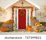 3d rendering. autumn decorated... | Shutterstock . vector #737399821