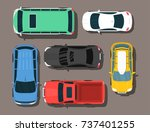 top view colorful car toys... | Shutterstock .eps vector #737401255