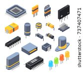 capacitor  different chips ... | Shutterstock .eps vector #737407471