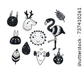 monochrome animals  black and... | Shutterstock .eps vector #737410261
