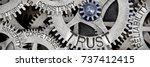 macro photo of tooth wheel... | Shutterstock . vector #737412415