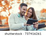 young attractive couple talking ... | Shutterstock . vector #737416261