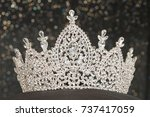 diamond silver crown for miss... | Shutterstock . vector #737417059