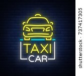 taxi car design neon glowing... | Shutterstock .eps vector #737417305
