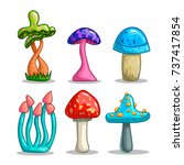 set with cartoon fantasy... | Shutterstock . vector #737417854