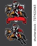 Knight Warrior Riding Horse...