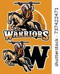 indian warrior riding horse... | Shutterstock .eps vector #737422471
