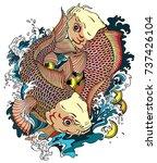 two japanese carp koi gold... | Shutterstock .eps vector #737426104