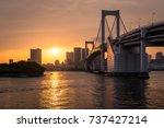 sunset glow in tokyo bay | Shutterstock . vector #737427214