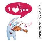 the hare plays the violin. love | Shutterstock .eps vector #737428414