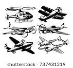 set silhouette aircraft... | Shutterstock .eps vector #737431219