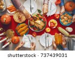happy thanksgiving day  autumn... | Shutterstock . vector #737439031