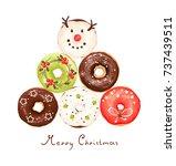 collage of christmas glazed... | Shutterstock .eps vector #737439511